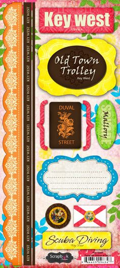 FLORIDA Vacation Cardstock Scrapbook Stickers