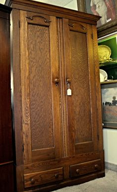 Solid Oak Armoire Closet Wardrobe W/ 2 Drawers, Full Width Bar And  Removable Shelves