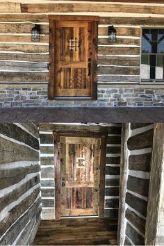 Reclaimed wood entry door complete with a speakeasy in a rustic cabin.