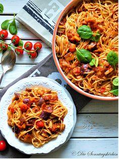 Lila ist gesund...Auberginen Ratatouille mit Spaghetti -