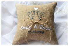 Burlap Wedding pillow , lovebirds wedding pillow , ring bearer pillow, ring…