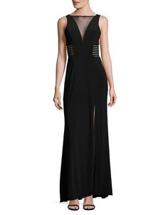 Sleeveless Deep-V Illusion Gown with Side Cut-Outs | Hudson's Bay