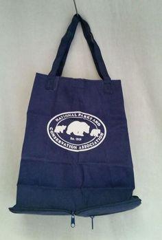 National Parks+Conservation FOLD UP Carryall Bag Vintage Tote Blue Pocket Handle #ToteBag