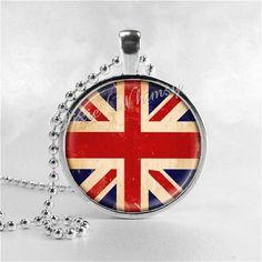 Collana Unione JACK, Unione Jack gioielli, Union Jack Flag, Regno Unito, bandiera britannica, vetro foto arte ciondolo