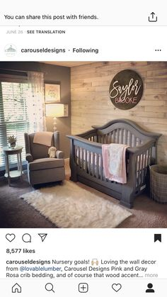 The walls I love...this would be super cool for a teens room too...minus the crib. Baby Nursery Ideas For Girl, Girl Nursery Colors, Baby Girl Nursey, Baby Boy Nurseries, Baby Rooms, Baby Room Decor, Baby Bedroom, Girls Bedroom, Bedrooms