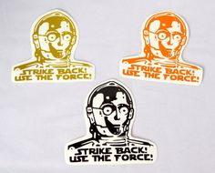 Star Wars C-3PO Strike Back! Use The Force! Roller Derby Helmet Vinyl Sticker / Vinyl Decal on Etsy, $5.00