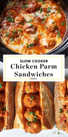 Slow Cooker Chicken Parm Meatballs. If you love classic Italian chix parmesan but have no want for deep fried foods, this is the healthy dish for you! The crockpot method is way more simple and easy than baked ones. The search for the best, fast comfort food recipes and ideas stops here. You'll need ground chicken or turkey, jarred marinara sauce, panko breadcrumbs, parmesan cheese, onion, herbs, garlic, shredded mozzarella cheese, buns or sub rolls to serve.