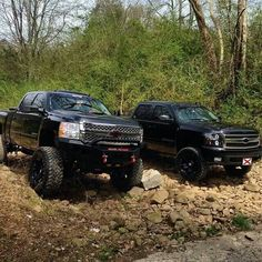2 black lifted Chevrolet Silveado trucks out having fun. www.CustomTruckPartsInc.com is one of the largest Truck accessories retailer in Western Canada. Lifted Pick Up