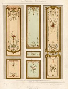 Antique Print Decoration Door Panel Ornament Louis XV Style Plate 32 Gruz 1860 | eBay
