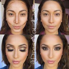 Konturierung Make-up ♡♡ - Beauty Tips und Tricks Face Contouring, Contour Makeup, Contouring And Highlighting, Skin Makeup, How To Blend Contouring, Contouring Guide, How To Contour Your Face, How To Apply Makeup, Eye Makeup