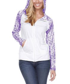 Look what I found on #zulily! Off-White & Grape Abstract Pocket Hoodie - Plus #zulilyfinds