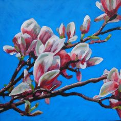 Painting by Anne - 2015 - Magnolias in Westerpark - Work in progress