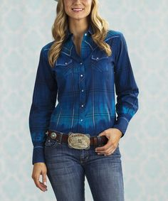 Take a look at this Blue Lion Plaid Button-Up - Women & Plus by Sherry Cervi Collection on #zulily today!