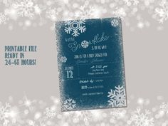 """Printable """"little snowflake"""" baby shower invitation - background and text can be customized for any colour for a boy or girl!"""