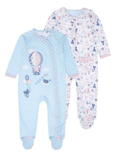 Bundle her up in these comfortable sleepsuits to keep her warm and cosy. With a snap button fastening and slip-resistant sole, these printed suits are fashioned from pure cotton.</p><ul><li>Girls printed sleepsuit set</li><li>Pack of 2</li><li>Snap button fastening</li><li>Slip-resistant sole</li><li>Pure cotton</li></ul>