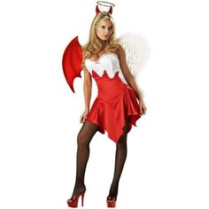 Undecided between Angel and Devil Costume for Halloween? You can be an angelic devil or you can also be a diabolic angel during Halloween! This costume. Last Minute Halloween Costumes, Adult Halloween, Cool Costumes, Halloween Treats, Adult Costumes, Costumes For Women, Halloween Party, Costume Ideas, Halloween Stuff