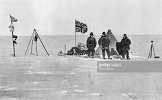 The Shackleton camp, Antarctica, Christmas Day, 1908. A photograph from British explorer ErnestShackleton's (1874-1922) expedition of 1908-1909 on board the 'Nimrod'. He made three expeditions to the Antarctic, but is best known for the 'Endurance' expedition of 1914-1916 when the ship became trapped in the ice and Shackleton and five colleagues made an epic journey to South Georgia to seek rescue. A print from L'Illustration, 2 October 1909. (Photo by The Print Collector/Print…