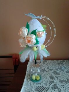 Crafts For Seniors, Diy Flowers, Holiday Crafts, Decoupage, Diy And Crafts, Bouquet, Eggs, Glasses, Halloween