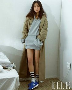 Gong Hyo Jin in New Balance 247 Classic * grey hoodie * camel coat * sneakers * Chic Outfits, Summer Outfits, Fashion Outfits, Socks Outfit, Gong Hyo Jin, Korean Actresses, Grey Hoodie, New Wardrobe, Fashion Lookbook