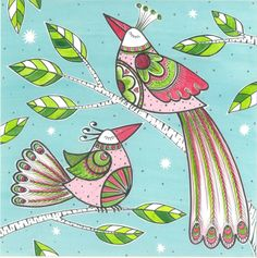 Cindy Wilde - k. Two birds on branch A5.jpg