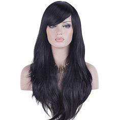 DAOTS 28 Wig Long Heat Resistant Big Wavy Hair Women Cosplay Wig Black * You can get additional details at the image link.Note:It is affiliate link to Amazon.