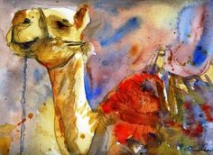 """Camel Art, watercolor print of animal art in Israel 11x14"""" matted print, via Etsy. Love the simplicity in the technique while giving plenty of detail to the image."""