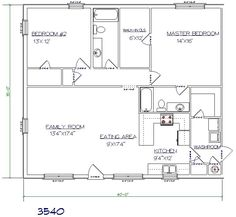 WDMB - FloorPlans 3540C. 2 bed/2bath 35'x40'.  1400 sq ft.