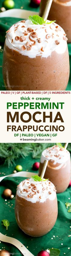 Vegan Peppermint Mocha Frappuccino (Paleo, V, GF, DF): an easy, whole ingredient recipe for minty, thick and chocolatey peppermint mocha frappes! #Vegan #Paleo #GlutenFree #DairyFree | BeamingBaker.com