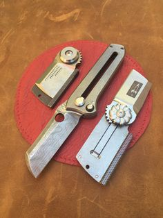 Small Flipper Dogtag Folding knife and Out the Front OTF Knife perfect EDC Knife by Darriel Caston