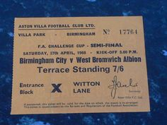 Aston Villa Fc, Challenge Cup, Villa Park, West Bromwich, Semi Final