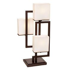 Lighting on The Square Modern Table Lamp Roman Bronze Metal Geometric Opal Glass Square Shades for Living Room Family Bedroom Bedside - Possini Euro Design Contemporary Table Lamps, Modern Table, Metal Accent Table, Room Lamp, Desk Lamp, Unique Lamps, Bronze, Lamp Design, Design 24