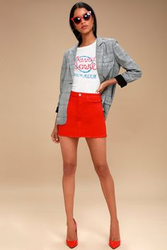 Pop and Lock Red Denim Mini Skirt 1 Red Denim Skirt, Denim Skirt Outfits, Red Jeans, Denim Outfit, Short Jean Skirt, Jean Mini Skirts, Red Skirts, Las Vegas Outfit, Vegas Outfits
