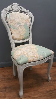 Annie sloan world map fabric reupholstered by love restored french style chair upholstered with map fabric and painted using annie sloan paris grey chalk paint by love restored gumiabroncs Gallery