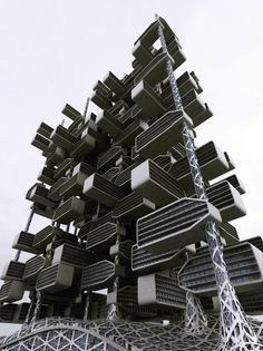 """Developed by IAMZ Design Studio and architect Ahmed Elseyofi,'World of Chlorophyll'is a skyscraper concept based off of the natural structure of a plant. According to IAMZ, the project, """"imitates the 'branch and leaf' structure that is associated with its photosynthetic function… The units take the form of leaves, stemming mainly from the columns, and simulate Mother Nature."""""""
