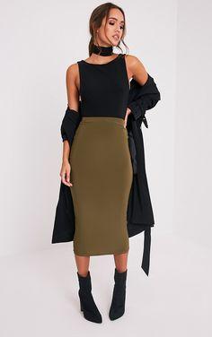 Steffany Khaki Slinky Long Line Midi Skirt Image 1