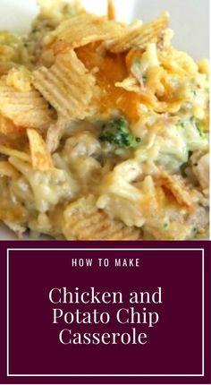 Chicken and Potato Chip Casserole Recipe - Moms Kitchen - snowtree Whole30 Dinner Recipes, Quick Dinner Recipes, Whole 30 Recipes, Lunch Recipes, Appetizer Recipes, Vegetarian Recipes, Cooking Recipes, Meat Recipes, Yummy Recipes