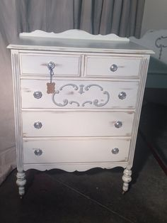 French Provincial Antique Highboy Dresser White and by SassyReVamp, $450.00