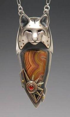 Pendant   Brooke Stone.  Silver, bronze, copper, Dryhead Agate, Carnelian.
