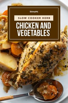 Slow Cooker Herb Chicken and Vegetables Clean Eating Slow Cooker Recipe, Clean Eating Recipes For Dinner, Clean Eating Meal Plan, Healthy Slow Cooker, Slow Cooker Recipes, Slow Cooking, Crockpot Recipes, Whole Food Recipes, Healthy Recipes
