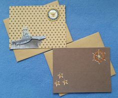 Two US Navy Blank Greeting Cards recycled kraft paper by plarnstar