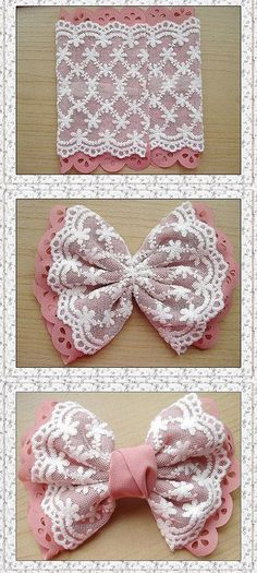 DIY Bow - might well go on a little girl's dress - jute Beutel - Baby Headbands Diy Hair Bows, Diy Bow, Diy Ribbon, Ribbon Work, Ribbon Crafts, Fabric Crafts, Sewing Crafts, Fabric Hair Bows, Ribbon Flower