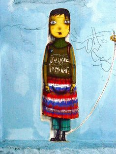 Os Gemeos #street art, #graffiti, #urban art