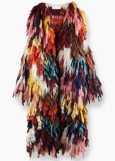 Discover Chloe Shaggy Coat and shop online on CHLOE Official Website. Unique Fashion, Love Fashion, High Fashion, Autumn Fashion, Fashion Outfits, Mode Unique, Moda Vintage, Fringe Jacket, Knit Fashion