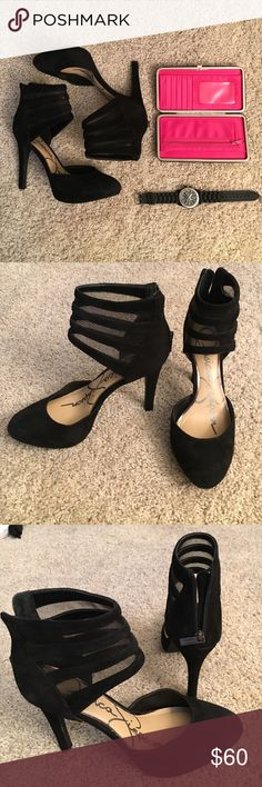 Jessica Simpson Avalyn Black Suede Cuff Heels Jessica Simpson Avalyn elegant & classy black heels. Very pretty, worn only once for a few hrs to a Christmas party. Basically brand new as you can see from the lack of wear! Suede material w a gorgeous cuff / strap around the ankle slight pointy toe. Zipper up the back.   🍍 Have questions? Please ask! 💚 I love offers! 💚 Please use the offer button or my 'Closet Rules' thread to negotiate bundles.  🍍  Refer to my handy chart for guidance on…