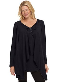 Womens Plus Size Layered Look Long Top With Sequined Inset Black3X *** More info could be found at the image url.