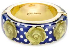 "Betsey Johnson ""In the Navy"" Large Lucite Hinge Magnet Bangle Bracelet $39.99"