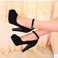 Pas cher Femmes nouvelle mode printemps été plate forme 11 cm talons hauts minces pompes boucle chaussures grande , plus la taille 40 43, Acheter Ballerines pour femmes de qualité directement des fournisseurs de Chine: Toutes nos chaussures sont en provenance de Chine, la taille est toujours petit, notre chaussure taille est différent