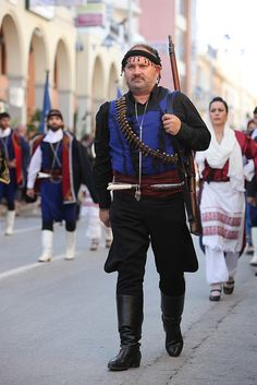 Crete Oxi Day Rethymno by cinematographer, via Flickr Creta Greece, Greek Traditional Dress, Zorba The Greek, Greek Culture, Greek Isles, Santorini Greece, Pure Products, Greek Costumes, People