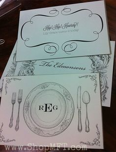 Personalized paper place mats.  Choose your monogram, name or favorite saying. 800-983-2266