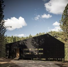 Image 10 of 26 from gallery of La Quimera House / Ruca Proyectos. Photograph by Ignacio Santa Maria Arch House, Black Architecture, Amazing Architecture, Santa Maria, Patagonia, Wooden House Design, Forest Cabin, Wooden Sheds, Winter Cabin